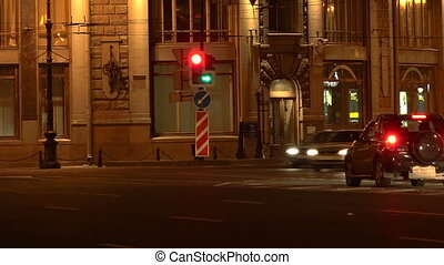 House at the beginning of Nevsky Prospekt. Night. Real time....