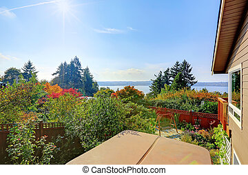 House backyard and lake view from deck
