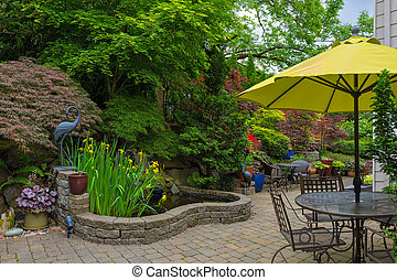 House Backyard Hardscape with Garden Patio Furniture