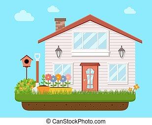 house backyard with garden flower
