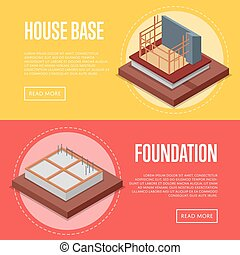 House base construction posters set