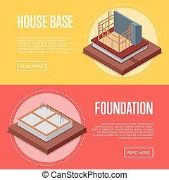House base construction posters set
