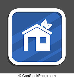 House blue flat design square web icon