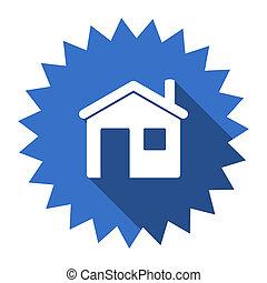 house blue flat icon
