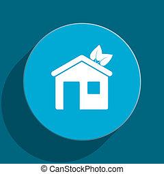 house blue flat web icon