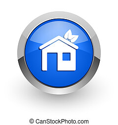house blue glossy web icon
