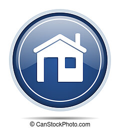House blue round web icon. Circle isolated internet button for webdesign and smartphone applications.