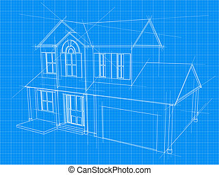 Architecture blueprint of a house over a blue background vectors an illustration of a blueprint for an new house under construction malvernweather