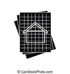 House blueprint icon, simple style