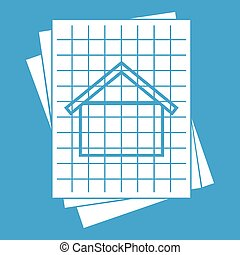 House blueprint icon white