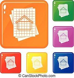 House blueprint icons set vector color