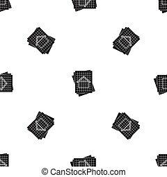 House blueprint pattern seamless black