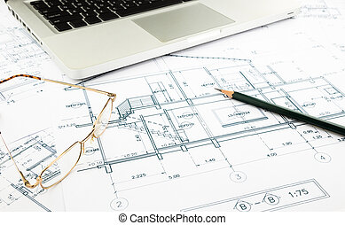 house blueprints and floor plan with keyboard, architecture ...