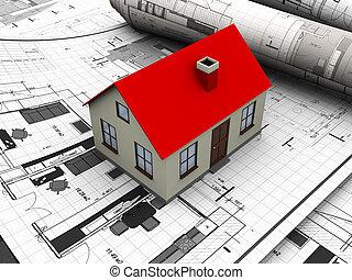 house blueprints - 3d illustration of house maquette over...