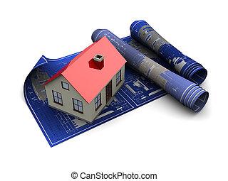 house blueprints - 3d illustration of house blueprints with...