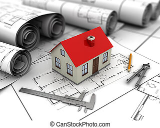 house blueprints - 3d illustration of small house blueprints...