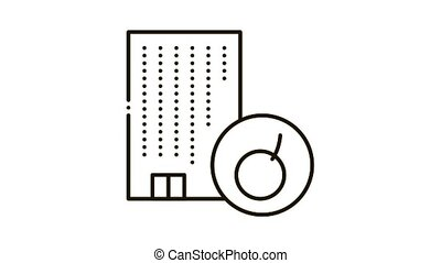 House Bomb Crash Icon Animation. black House Bomb Crash animated icon on white background