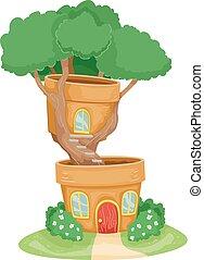 House Bonsai Plant Illustration