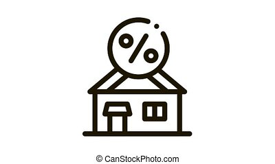 House Borrowed at Interest Credit Icon Animation. black House Borrowed at Interest Credit animated icon on white background