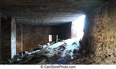 house., brique, débris, vieux, ruines