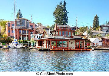house., brique, washington, lac, bateau