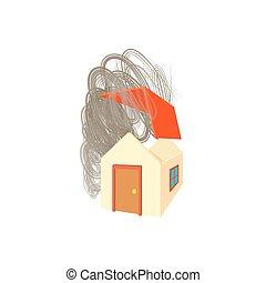 House broken by hurricane icon, cartoon style