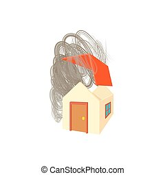House broken by hurricane icon, cartoon style