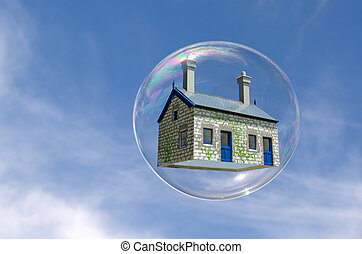 House bubble - House in a bubble fly in the air. Concept...