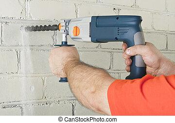 house-builder, 工作, 由于, a, perforator