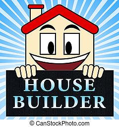House Builder Indicates Real Estate 3d Illustration