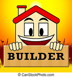 House Builders Indicates Real Estate 3d Illustration
