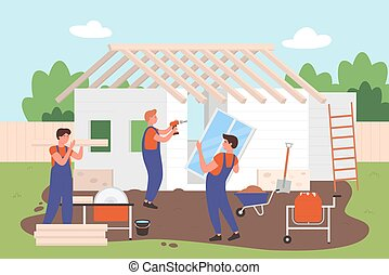 House building, architectural, construction process character flat vector illustration. Workers using tools and materials for constructing home. Turnkey, construction design company