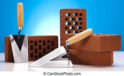 House building - Construction plans and blueprints, bricks