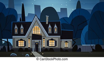 House Building Night View Suburb Of Big City, Cottage Real...