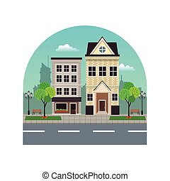 house building residential urban street with tree