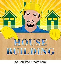 House Building Showing Home Construction 3d Illustration