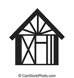 house building under construction icon vector graphic