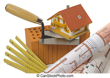 house building with brick, tool and plan
