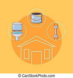house building with home repair icons