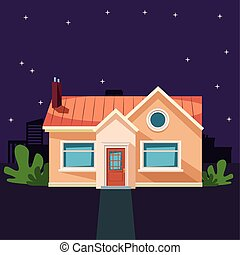 house building with plant icon cartoon