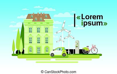 House Building With Wind Turbine And Electric Car Eco Real Estate Energy Efficient