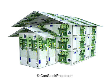 house built from euro notes, 3D.