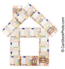 House built of 50 Euro bills over white background