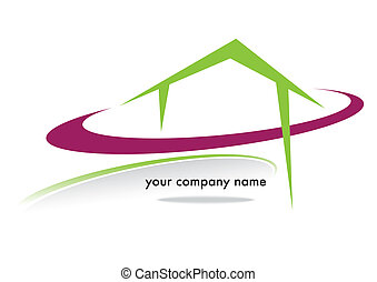 house business brand with colored circles on a white...