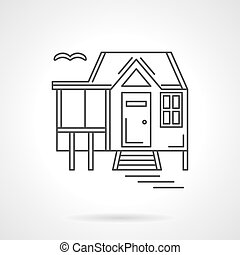 House by the lake flat line vector icon