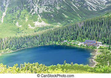 House by the lake in the mountains.