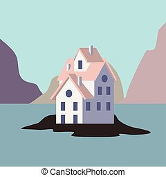 House by the ocean. vector flat icon illustration eps10