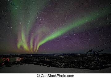 House, cabin, Aurora, night sky at alaska, fairbanks