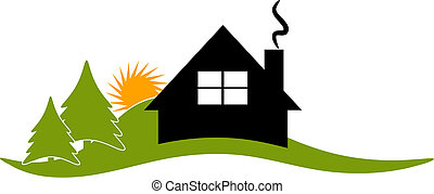 Vector illustration of a cabin/house/lodge icon or logo.