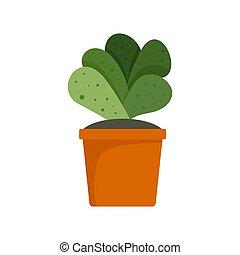 House cacti pot icon, flat style